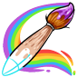 Partially Drawn Paintbrush